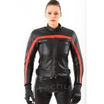 Motorcycle leather jacket Tschul New Jersey red
